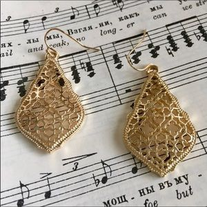 Moroccan Gold Scroll Hexagon Statement Earrings